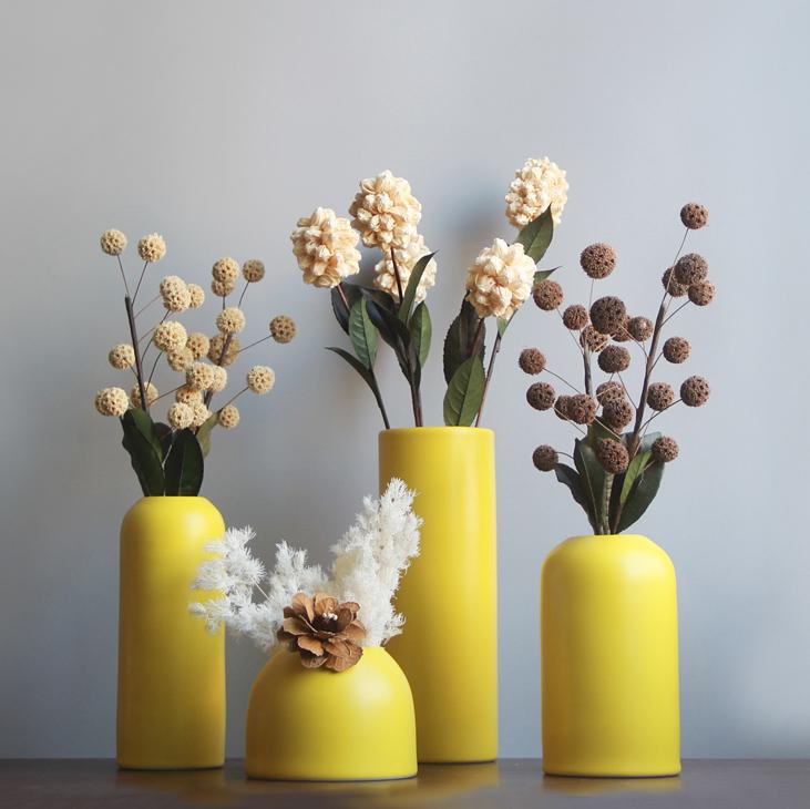北欧花瓶摆件客厅插花陶瓷干花花瓶黄色简约现代花器ins装饰摆件
