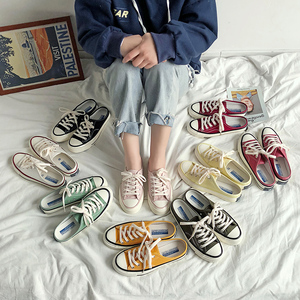1970s half slippers female student canvas shoes one pedal without heel lazy shoes breathable flat bottom shoes men shoes