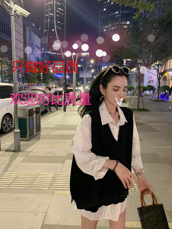 邱肉瑶SIXONE六一2020秋季新款条纹白衬衫宽松针织马甲背心套装女 -