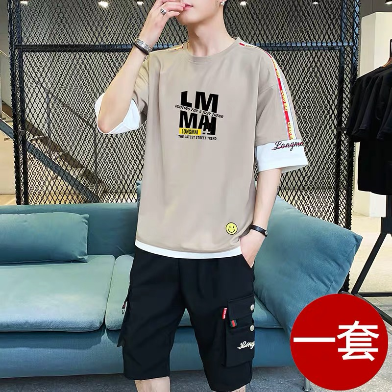 男士短袖t恤夏季潮流休闲运动套装青少年学生帅气5分夏装一套衣服