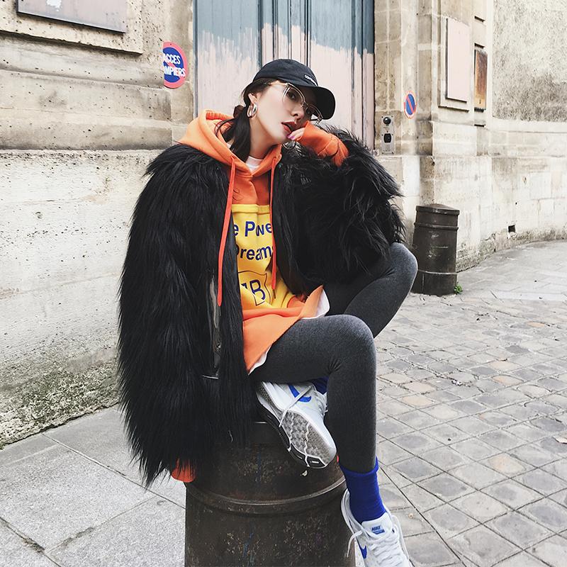 【MONA】仿毛皮草外套女冬季新款黑色短款宽松加厚皮毛一体上衣