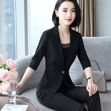 秋季新款七分袖(小)西装外ag8女中袖时ri作服女装套装韩款修身