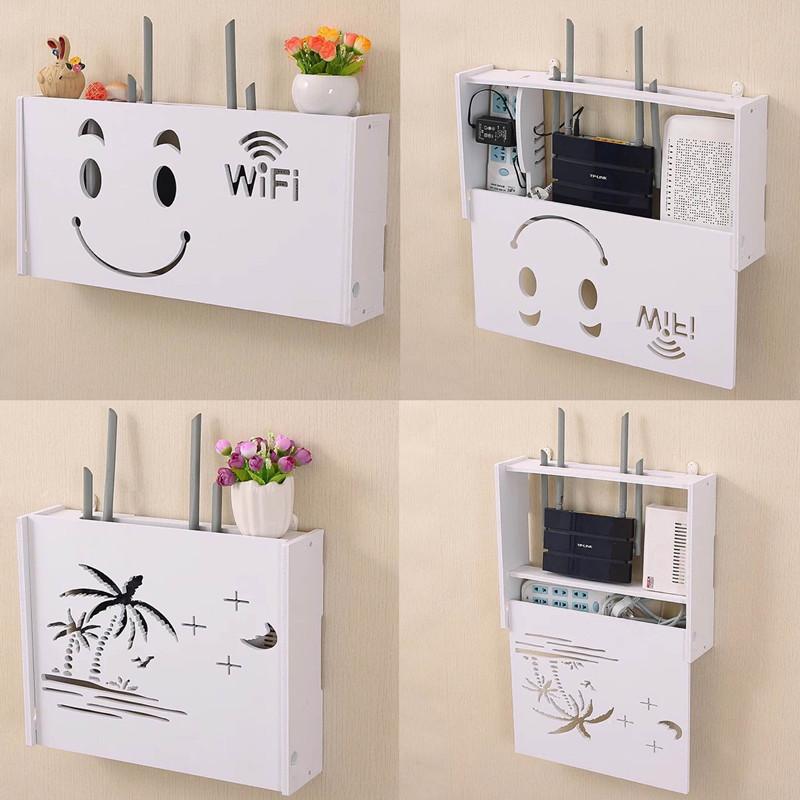 创意田园墙上电视柜机顶盒架子路由器收纳盒置物支架壁挂隔板搁板