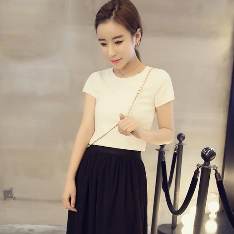 圆领短袖T恤女白色修身夏季打底衫韩版百搭学生显瘦纯色上衣