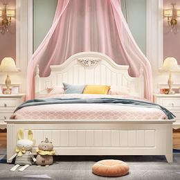韩式双人床田园风格床现代简约主卧1.5米1.8实木脚欧式公主储物床