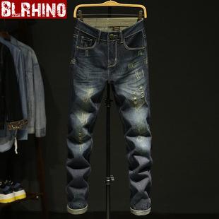 春夏牛仔裤男宽松裤子青年长裤子修身直筒复古色破洞牛仔长裤男裤