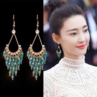 韩国饰品时尚气质镶钻长款流苏耳钉孔雀羽毛感漂亮夸张耳环女耳坠图片