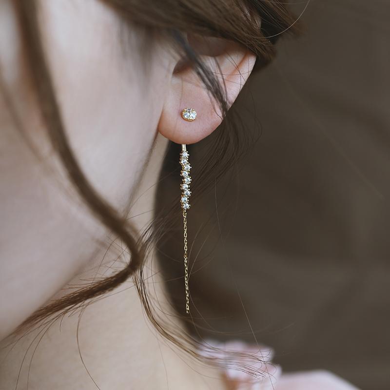 银本家原创女士耳环长款2019新款潮纯银镀金耳挂气质个性时尚耳饰