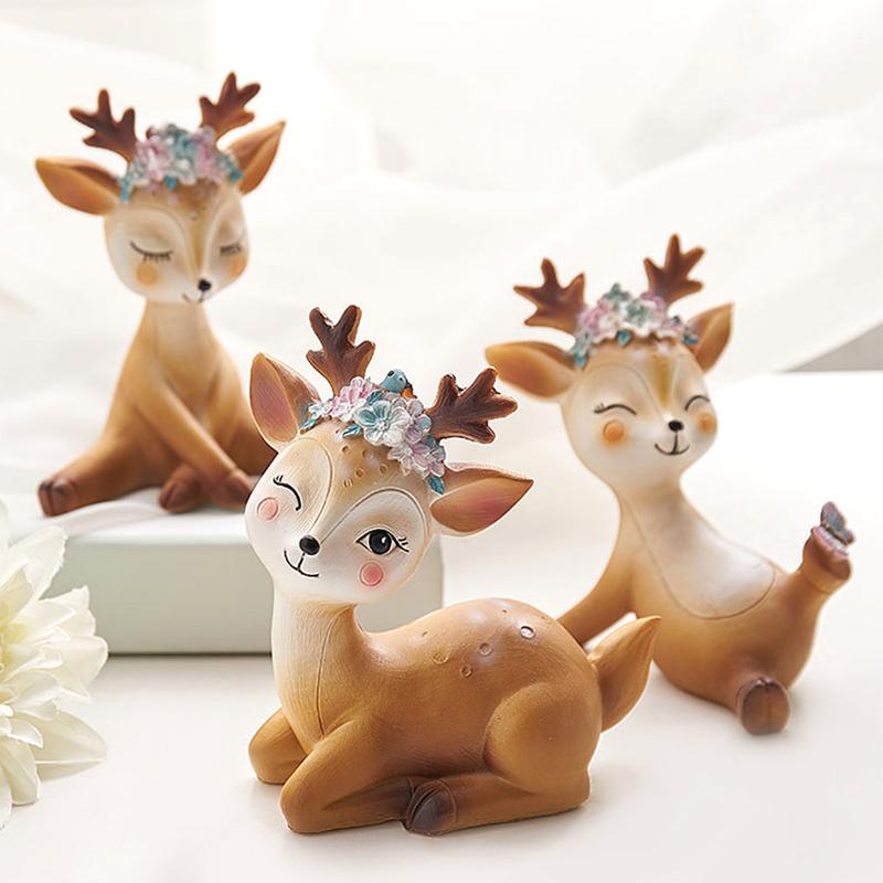 创意梅花鹿小摆件家居客厅儿童房间装饰品个性办公室摆设生日礼物