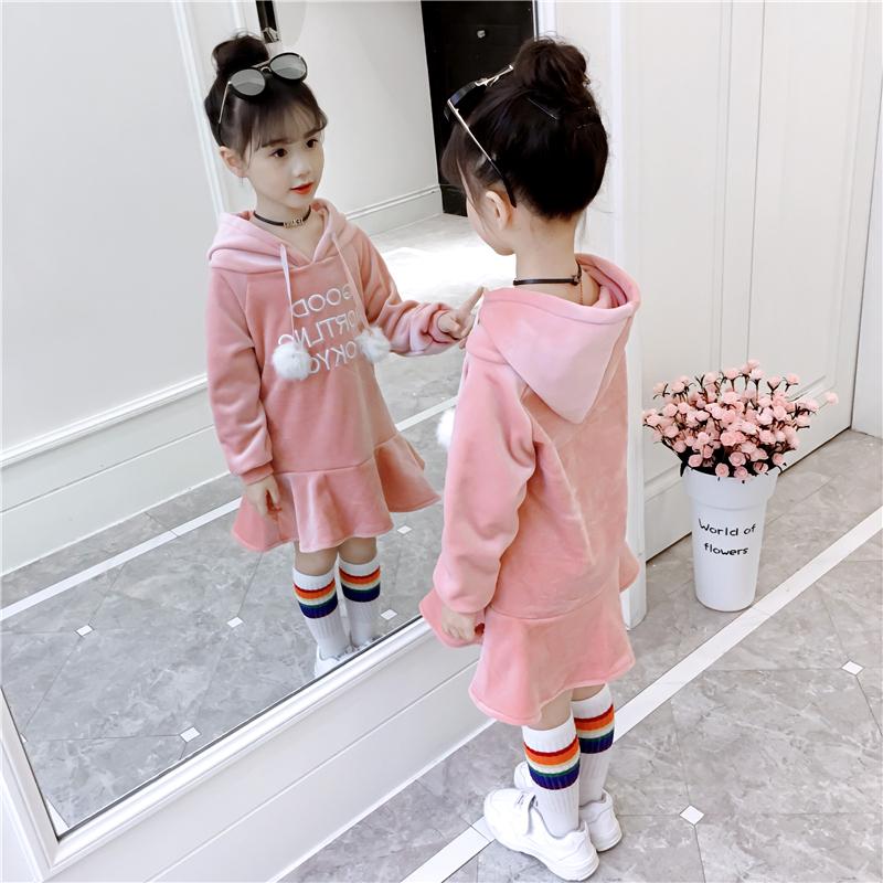 。女童连衣裙秋冬裙新款韩版金丝绒加绒儿童装洋气中大童公主裙