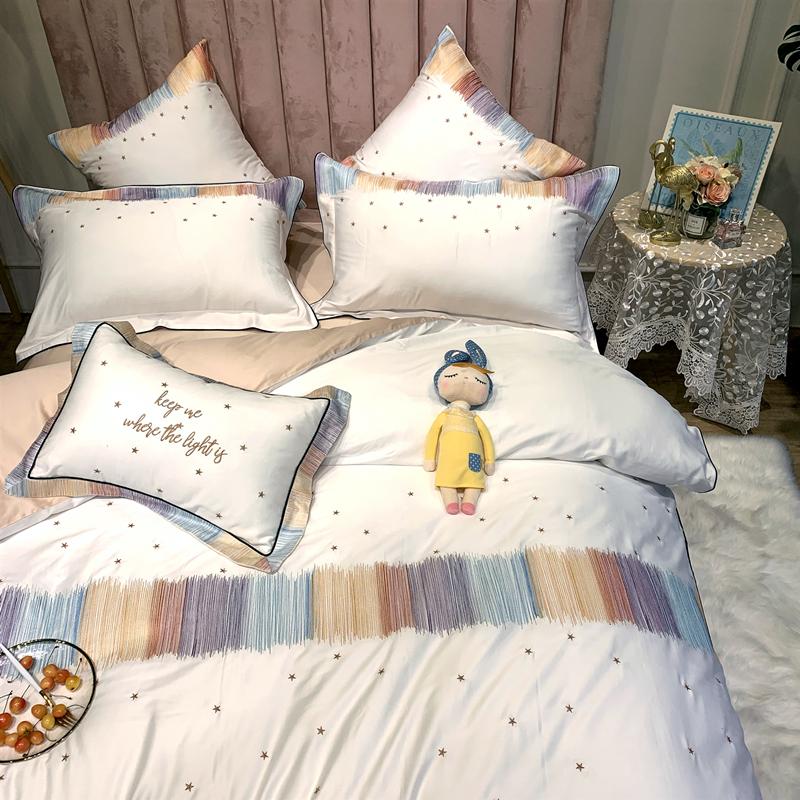 彩色线星星刺绣被套少女心床品