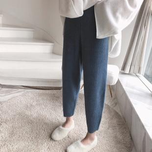 胖mm妹妹200斤大码女装针织秋冬适合胯大腿粗的宽松显瘦奶奶裤子图片