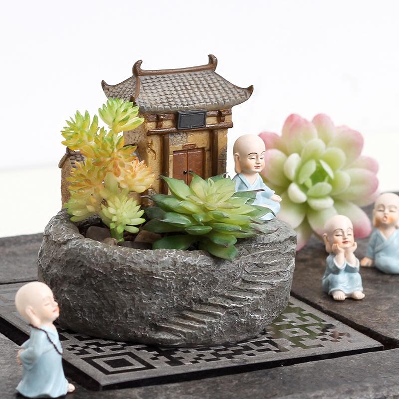 创意禅意小和尚多肉植物花盆装饰品小摆件桌面肉肉盆载微景观禅房