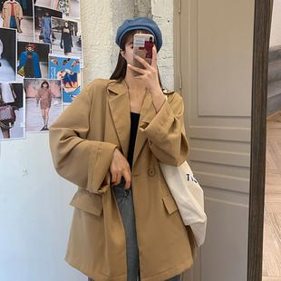 尤尤大码女装胖妹妹小西装外套女2020秋季新款宽松中长款雪纺西服图片