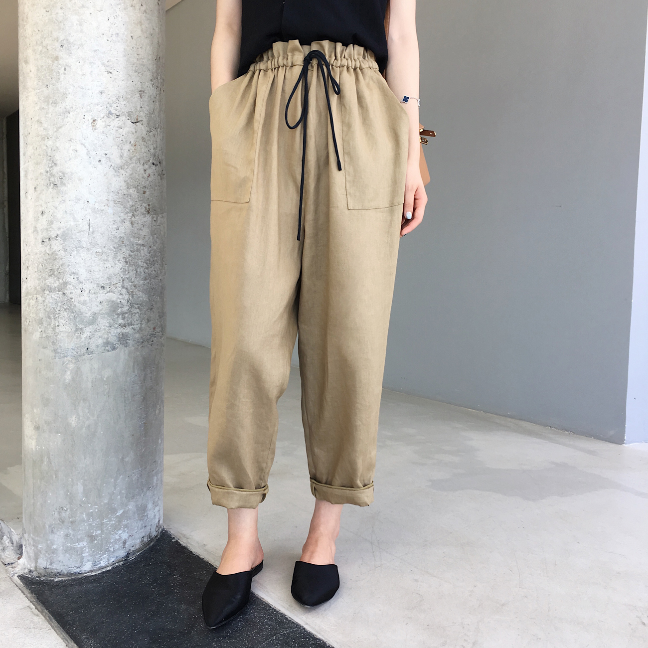 ◆ANNA◆复古亚麻宽松萝卜裤显瘦休闲棉麻九分裤女装2018夏季新款