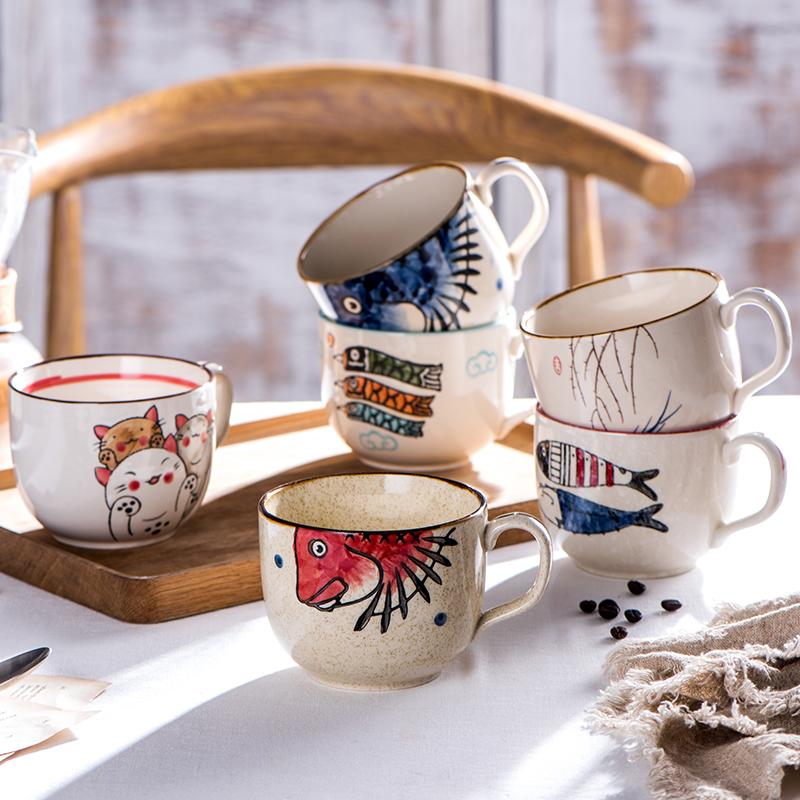 日式杯子陶瓷马克杯大容量带盖勺子水杯家用个性情侣杯早餐牛奶杯