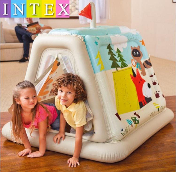 送50个球 正品INTEX充气帐篷儿童游戏屋宝宝充气玩具屋海洋球池