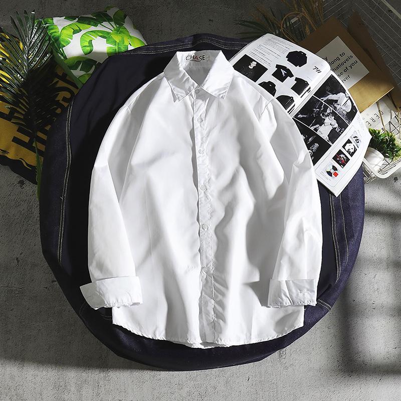 白衬衫男商务休闲青年韩版潮流职业纯色长袖薄款衬衣上班工作衣服