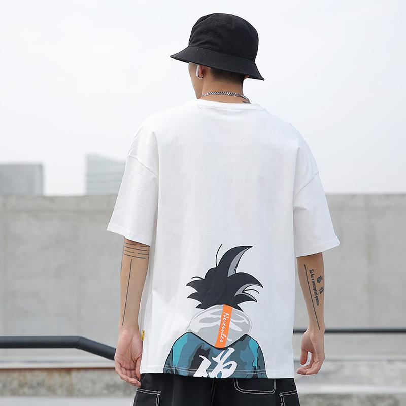 DUMB夏季款宽松动漫人物印花T恤短袖男半袖体恤潮流oversize上衣