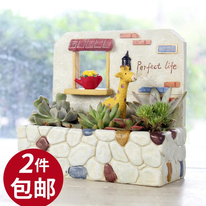 zakka日式花园场景壁挂创意植物多肉小花盆个性花器环保装饰盆栽