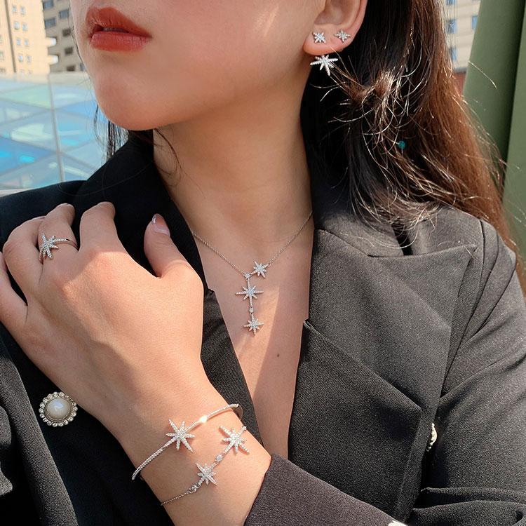 纯银六芒星项链女潮网红isn轻奢小众设计感欧美锁骨链双流星颈链