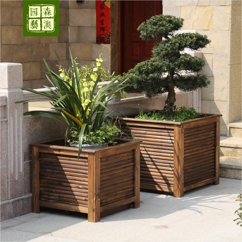 防腐木花箱碳化实木花槽木质花盆园林道路工程绿化正方形大种树箱