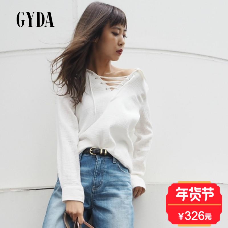 GYDA17新款  简约风格舒适宽松胸口绑带设计女衬衫 日本官网直邮