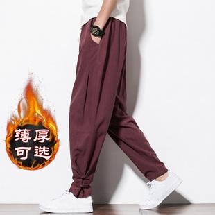 中国风亚麻 子复古风唐装灯笼裤