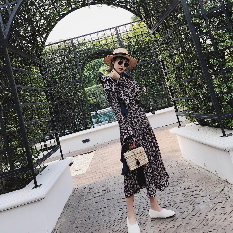 SHERRY复古中长款碎花连衣裙2018春新款韩版女木耳边荷叶袖雪纺裙
