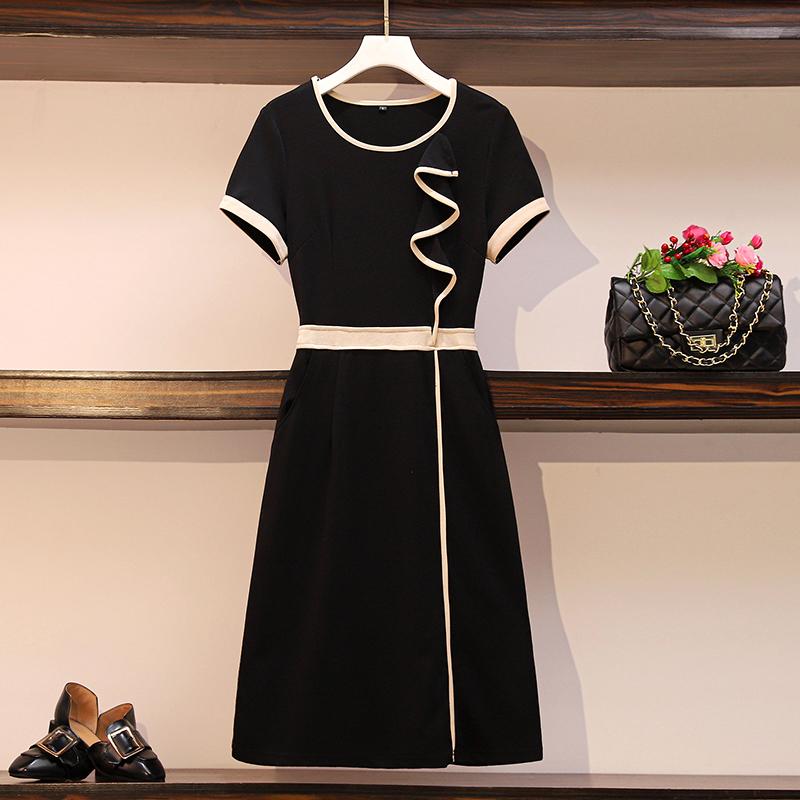 大码女装夏季显瘦遮肉长裙法式复古显瘦遮肚子连衣裙气质小黑裙夏
