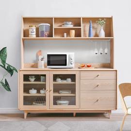 实木餐边柜现代简约茶水柜家用厨房碗柜酒柜一体多功能靠墙组合柜