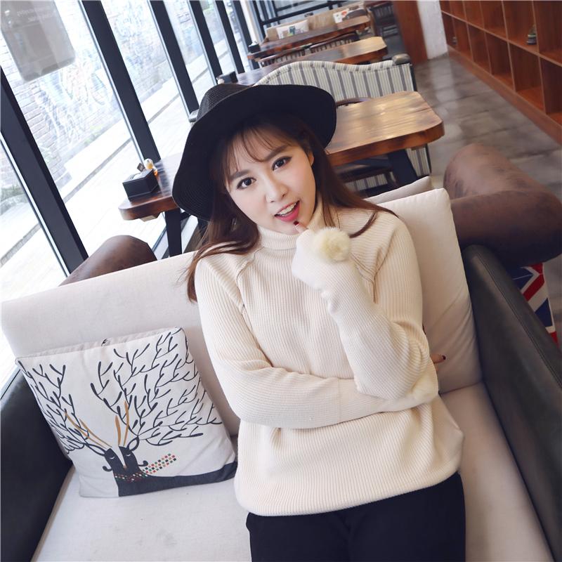 韩版17冬季新款胖mm弹力加大码女装毛衣高领加厚毛球针织衫200斤