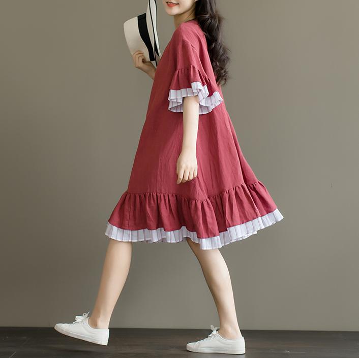 安妮森林  文艺宽松圆领荷叶袖条纹拼接显瘦棉麻连衣裙女