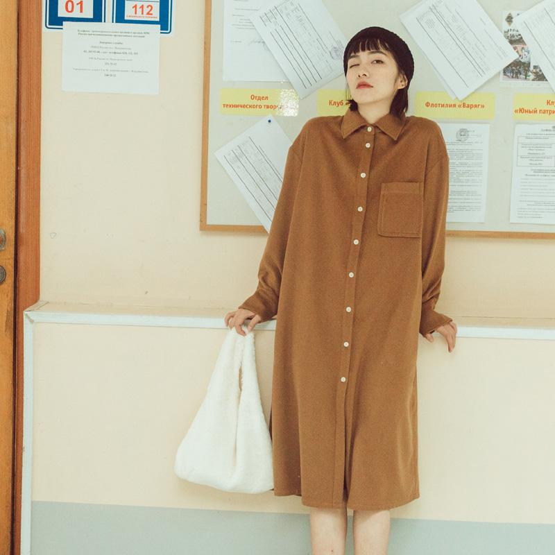 鹿与飞鸟日系复古宽松加厚羊毛呢衬衫裙连衣裙1448