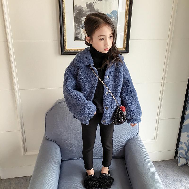 女童羊羔毛外套2018新款冬季韩版洋气加厚童装中大童韩版儿童上衣