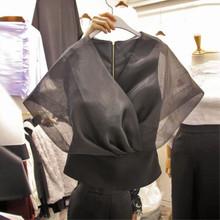 韩国东大门2021夏r07新式气质01落肩袖薄纱拼接短袖衬衫上衣