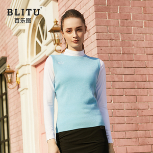 Golf clothing girls sweater vest autumn and winter knitted warm stretch vest fashion sports casual shirt