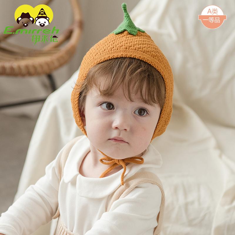 初生婴儿帽子秋冬纯棉新生儿胎帽可爱婴幼儿宝宝帽子卡通草莓拍照