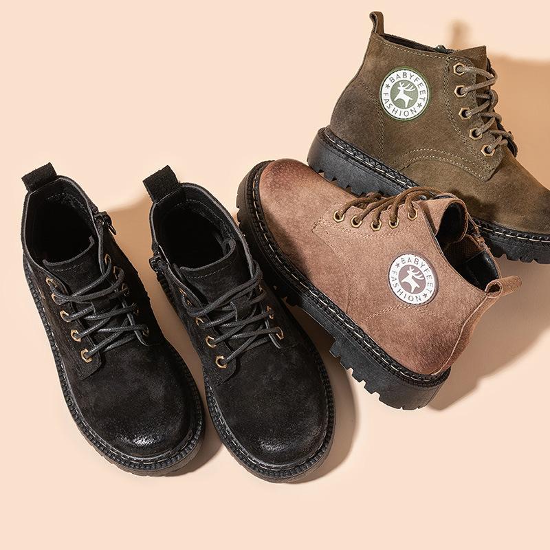 babyfeet儿童马丁靴秋冬新款短靴女童鞋中大童英伦风皮靴男孩靴子