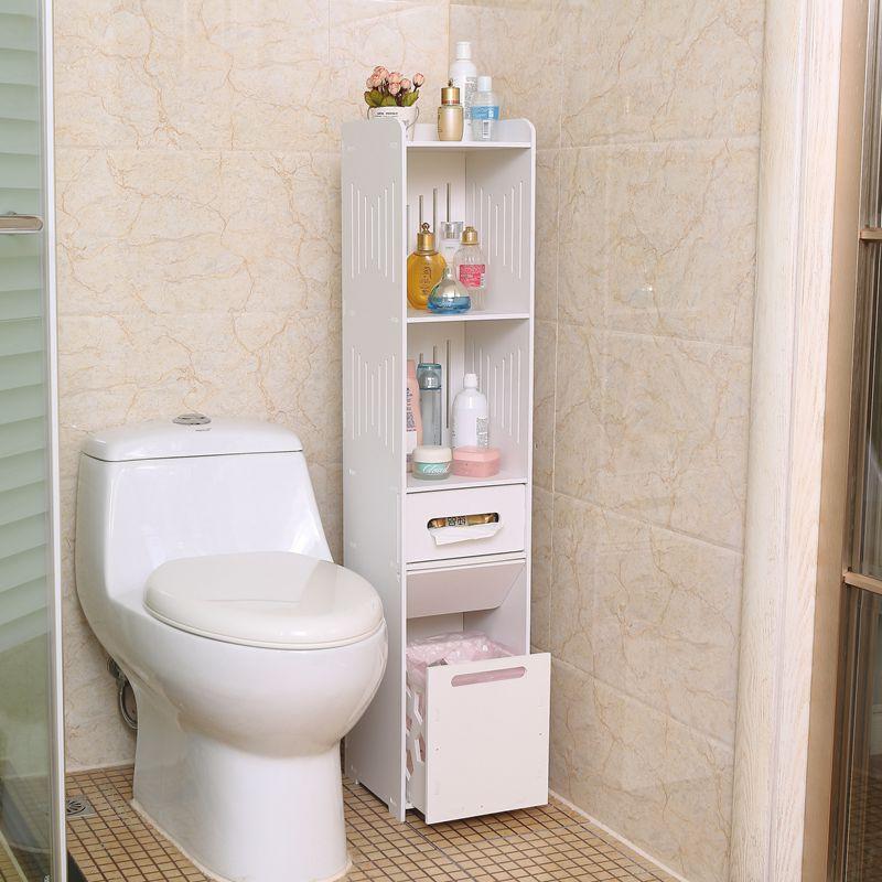 洗手台置物架卫生间防水白色收纳柜马桶落地边柜厕所储物柜浴室柜