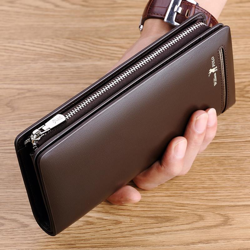 英皇保罗真皮长款拉链钱包男青年商务牛皮夹钱夹手拿包男士手机包