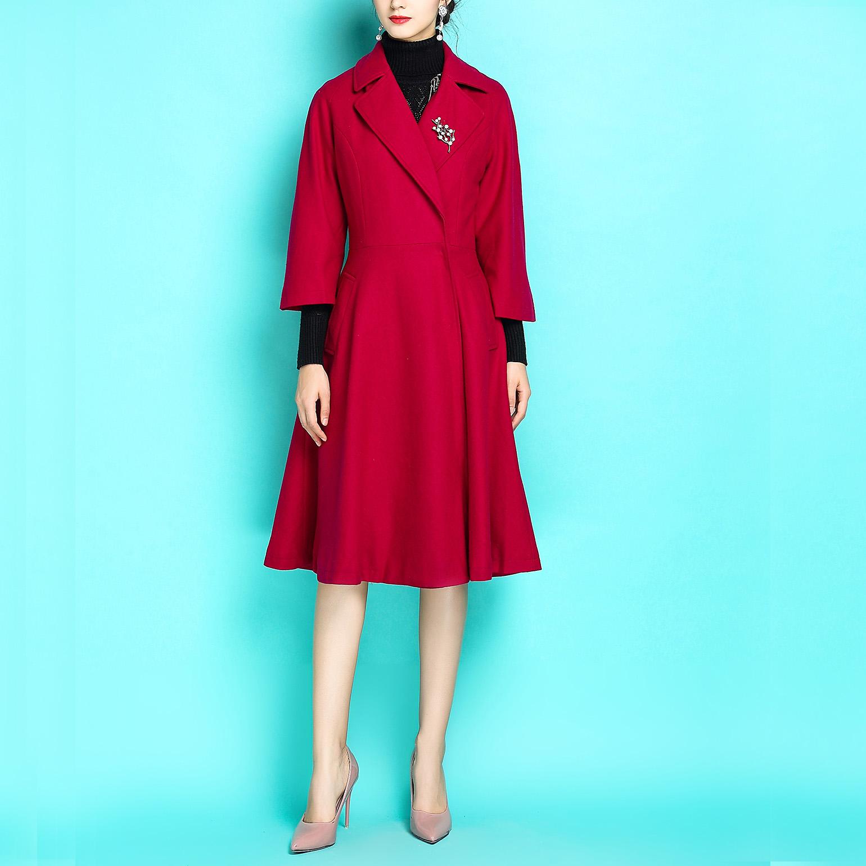 红颜与美人~秋冬新款复古大翻领连衣裙羊毛毛呢