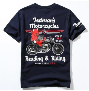 Japan [Original High Quality] Zhaofu Retro Motorcycle Motorcycle Short Sleeve T-Shirt Cotton Lucky Ghost Harley