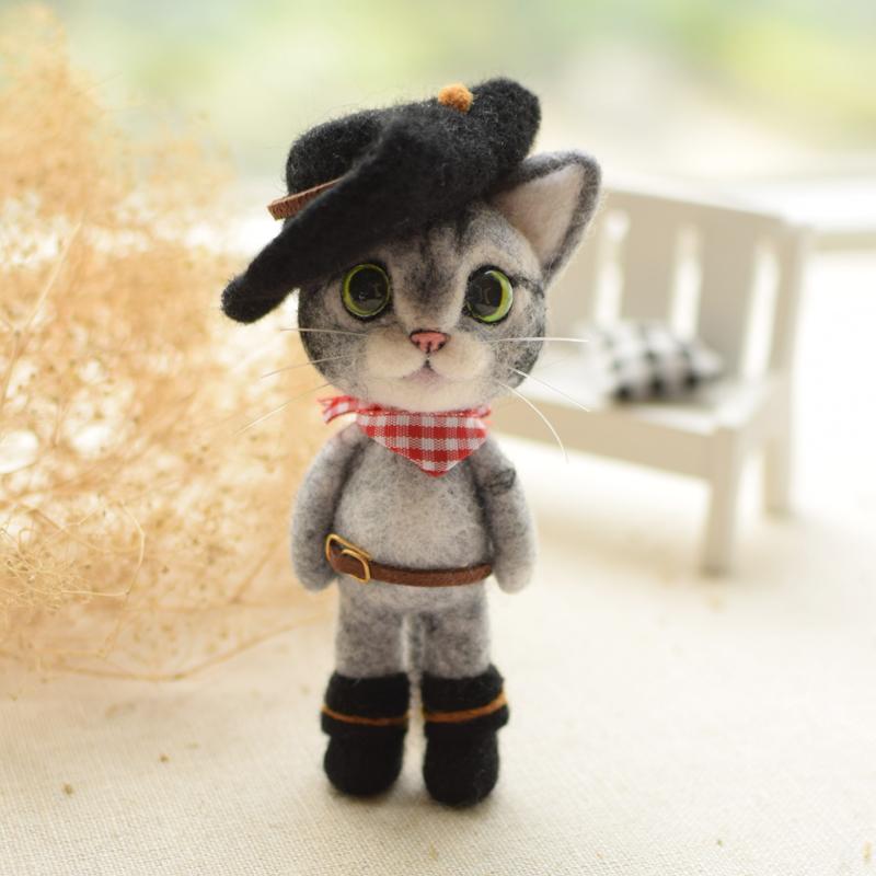 羊毛毡手工diy戳戳乐材料包 美短猫 英短猫咪摆件