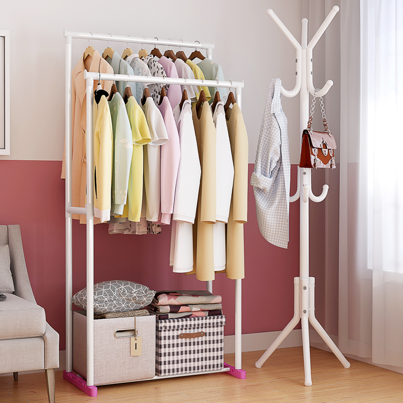简易衣帽架置物架卧室转角三角创意衣服架子稳固架铁艺包包挂衣架图片