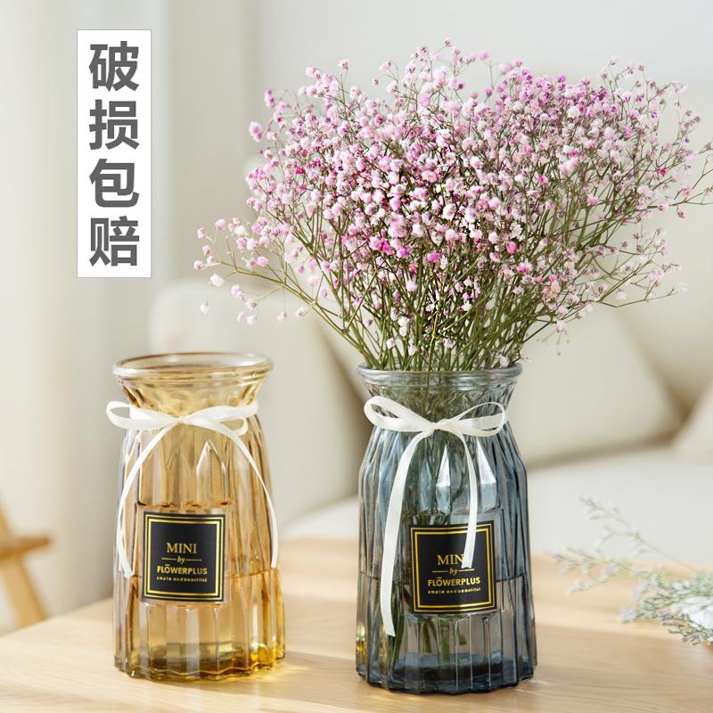 还不晚 欧式玻璃花瓶透明彩色水培植物花瓶客厅装饰摆件插花瓶