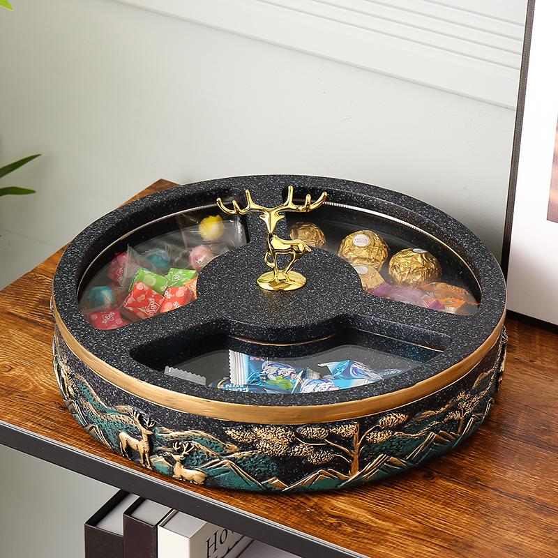 新中式干果盒分格带盖欧式糖果盒客厅干果盘坚果盒瓜子盘零食盘子