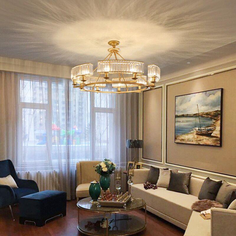水晶吊灯北欧后现代灯具客厅餐厅卧室灯大气家用轻奢美式铁艺吊灯-集优聚美灯饰