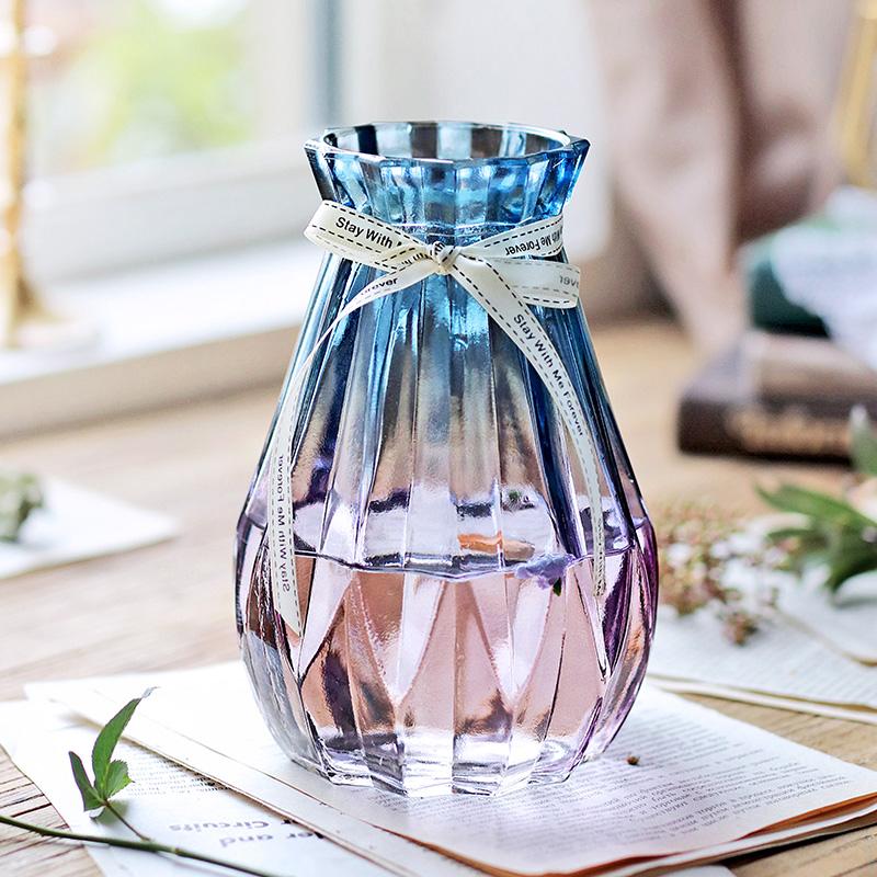渐变色玻璃花瓶小清新透明干花插花瓶北欧客厅装饰摆件水培富贵竹