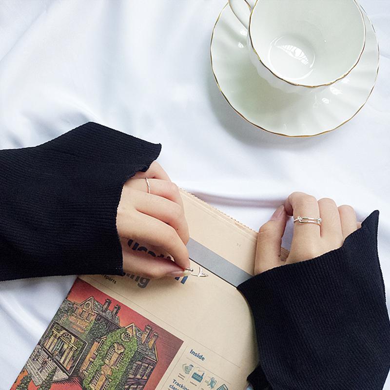 韩国简约镶钻月亮戒指组合套装女潮人气质指环关节戒尾戒套戒240